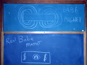 chalkboard with magnets and money for babes