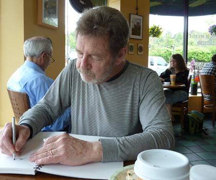 Pete Hamill in coffee shop