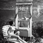 Vintage Underwater Photo Man looking through window at woman on lawn chair