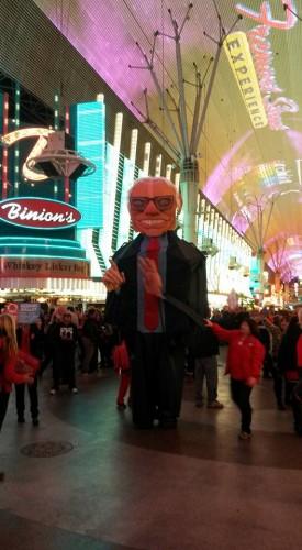 Bernie Sanders on Fremont Street.