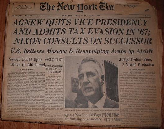 NY Times: Spiro Agnew Resigns