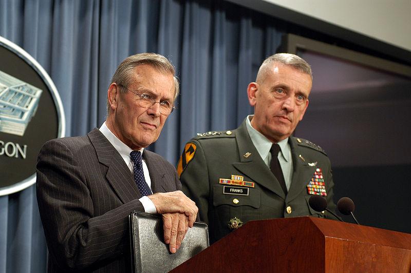 Donald Rumsfeld and Tommy Franks via Wikimedia
